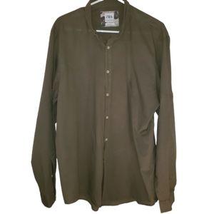 Zara relaxe fit olive green button down shirt